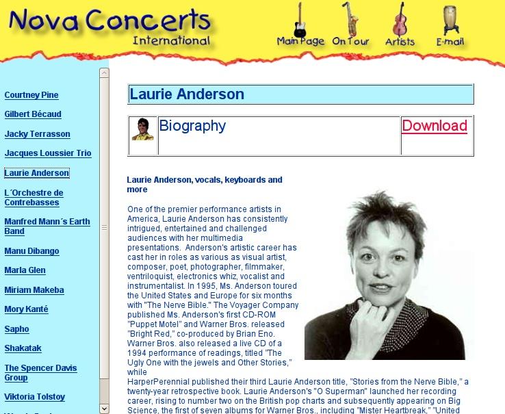 Website Version 1 (Artist Page)