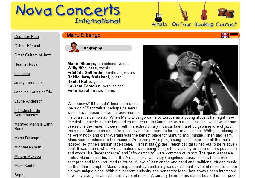 Website Version 2 (Artist Page)